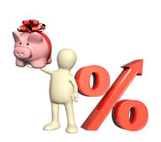 3d puppet with piggy bank and percent symbol. Isolated on white background Royalty Free Stock Photo
