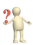 3d puppet with question mark Stock Image