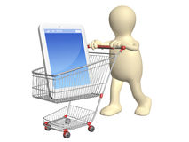 3d puppet with shopping cart and smartphone Royalty Free Stock Image
