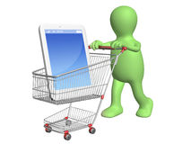 3d puppet with shopping cart and smartphone Stock Photography