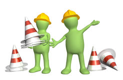 3d puppets with emergency cones Royalty Free Stock Photography