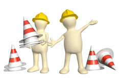 3d puppets with emergency cones Stock Photography