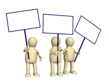3d puppets protesting with posters on demonstration Royalty Free Stock Photo