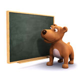 3d Puppy dog at the blackboard. 3d render of a puppy dog next to a blackboard Royalty Free Stock Photo