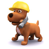 3d Puppy dog construction worker Royalty Free Stock Photo