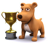 3d Puppy dog gold cup champion Royalty Free Stock Images