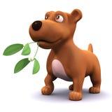 3d Puppy dog has mistletoe Stock Photo
