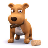 3d Puppy dog has opened a bottle of wine. 3d render of a puppy dog with a corkscrew and cork Stock Image