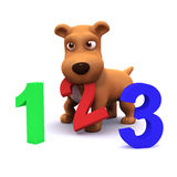3d Puppy dog learns to count Royalty Free Stock Image