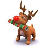 3d Puppy dog wears reindeer antlers Royalty Free Stock Photography