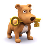 3d Puppy and key Royalty Free Stock Photography