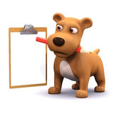 3d Puppy list. 3d render of a dog with pencil and clipboard Royalty Free Stock Images