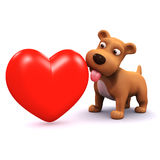 3d Puppy love. 3d render of a puppy dog with a red heart Stock Photography
