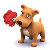 3d Puppy loves flowers Stock Images