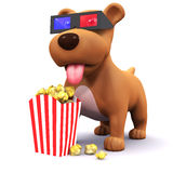 3d Puppy at the movies Stock Images