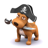 3d Puppy pirate. 3d render of a dog with a pirates hat and cutlass Royalty Free Stock Photography