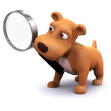3d Puppy searches. 3d render of a dog holding a magnifying glass in his mouth Stock Photography