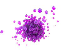 3d purple blue cubes and white background. 3d render purple cubes and white background abstract dispersion effect cube vector illustration