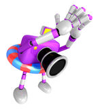 3d purple Camera character on powerful jump. Create 3D Camera Ro Stock Photo