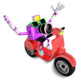 3D Purple camera character the right motorbike driving. Create 3 Royalty Free Stock Image