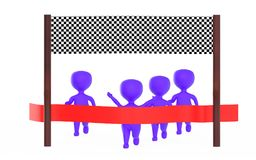 3d purple character is about to cross the finish line precceding many other character,s. 3d rendering Royalty Free Stock Photo