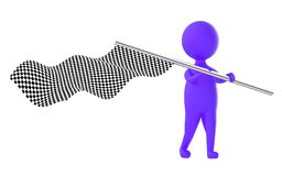 3d purple character waving a checker flag. 3d rendering Stock Photos