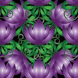 3d purple flowers seamless pattern. Textured floral ornamental background. Hand drawn vintage beautiful ornaments. Surface texture. Decorative abstract design Stock Images