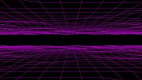 3D purple flowing digital grid floor & ceiling loopable background stock footage