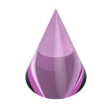 3D purple glass cone. Isolated on white background Stock Photos
