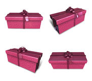 3D purple rectangular gift box set. 3D Icon Design Series. Royalty Free Stock Photography