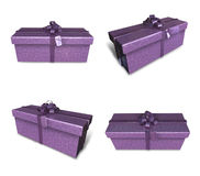 3D purple rectangular gift box set. 3D Icon Design Series. Stock Photos