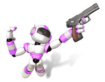 3D Purple robot jumping holding an automatic pistol. Create 3D H Stock Images