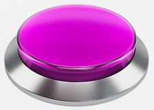 3d purple  shiny button. Round glass web icons with chrome frame on white background Royalty Free Stock Photos