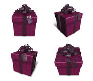 3D purple square gift box set. 3D Icon Design Series. Stock Photo