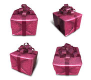 3D purple wrapped gift box set. 3D Icon Design Series. Royalty Free Stock Photo