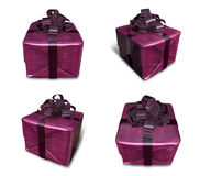 3D purple wrapped gift box set. 3D Icon Design Series. Royalty Free Stock Images