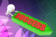 3d pushing success illustration Stock Image