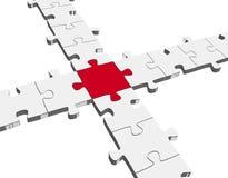 3D Puzzle Connection / Teamwork symbolism. Puzzle Connection - Teamwork symbolism with one red part Royalty Free Stock Image