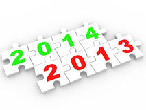 3D puzzle Happy New Year 2013 2014 Royalty Free Stock Photos