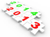 3D puzzle Happy New Year 2013 2014 Stock Images