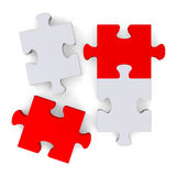 3d puzzle with missing pieces on white, top view Royalty Free Stock Image