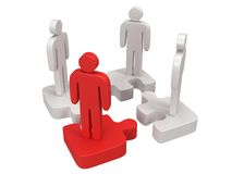 3d puzzle and people on white. Background. Business, teamwork, teamleader, assembling concept stock illustration