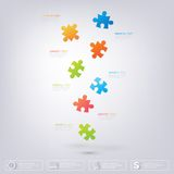 3D Puzzle piece infographics. Can be used for web design, diagram, for workflow layout Stock Image