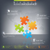 3D Puzzle piece infographics on dark background Royalty Free Stock Photos