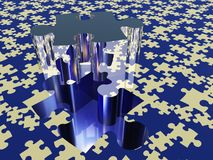 3D Puzzle piece. Puzzle piece on puzzle covered surface royalty free illustration