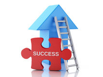3d Puzzle pieces, arrow and stair. Success concept Stock Photo