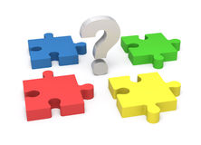 3D puzzle and question mark. Concept solution. Royalty Free Stock Photography