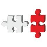 3d puzzle red and white 33 Stock Image