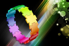 3d puzzle ring. In color background Stock Photography