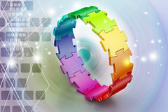 3d puzzle ring. In color background Stock Photo